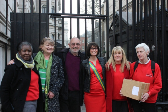 Gloria Morrison with Jimmy McGovern and cast of 'Common' outside Downing Street