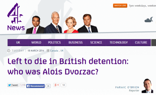Channel 4 news segment on Canadian detainee Alois Dvorzac.
