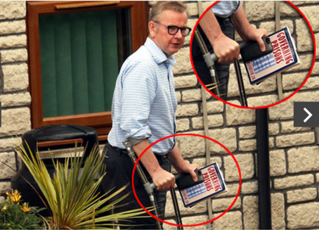 Justice Secretary Michael Gove  hold a book on prison reform while leaving hospital. Source: Shepton Mallet Journal
