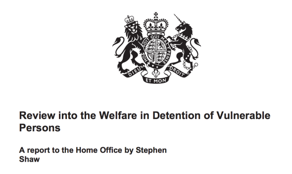 The Shaw Review into immigration detention in the UK. Source: Home Office